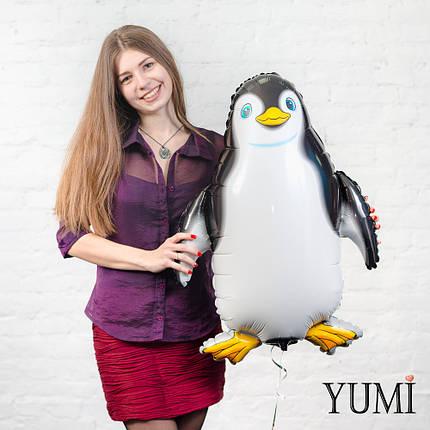 Воздушный фольгированный шарик Пингвин чёрный, фото 2
