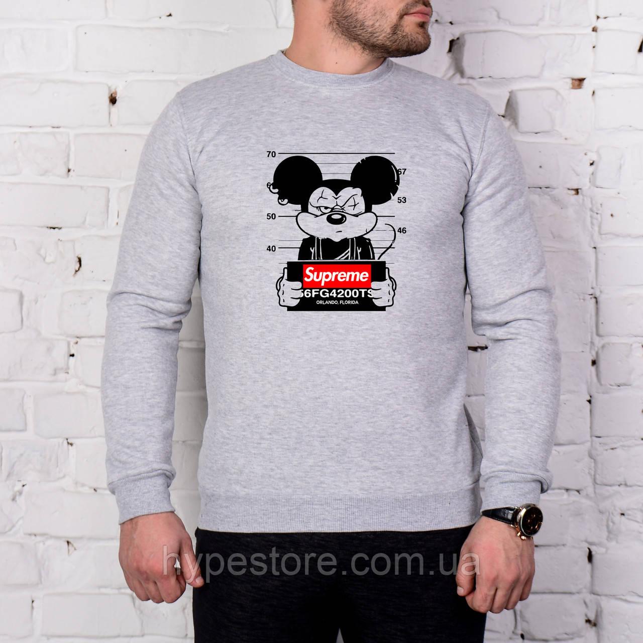 Мужской спортивный серый свитшот, кофта, лонгслив, реглан Supreme Mikki Mouse, Реплика