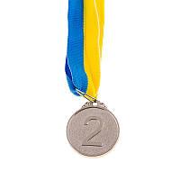 Медаль наградная с лентой, d=29 мм бронза
