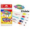 Фломастеры Colorino Fibre Pens двухсторонние 10 цветов  2 вида толщины