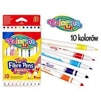 Фломастеры Colorino Fibre Pens двухсторонние 10 цветов  2 вида толщины , фото 1