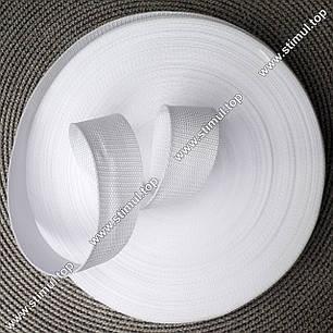 Тесьма цветная 20 мм (бухта 50 м) БЕЛАЯ / Стропа сумочная ременная / Лента для рюкзаков / Стрічка ремінна, фото 2