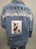 Женская джинсовая куртка на пуговицах,с принтом на спине,размер-oversize,Китай