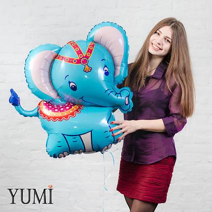Фольгированный шар с гелием Слоник голубой, фото 2