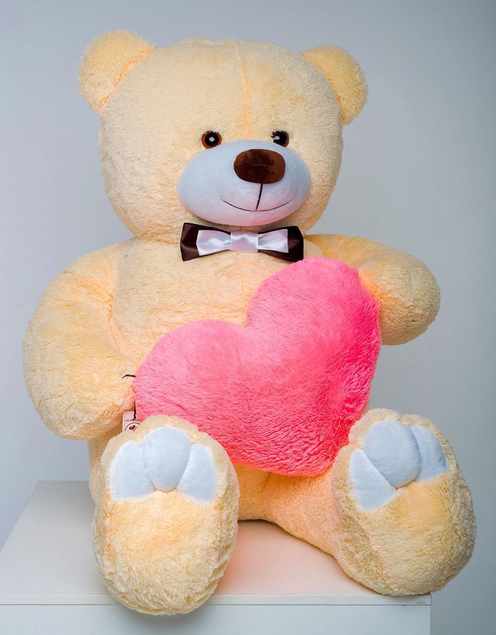 Плюшевый мишка с сердцем Mister Medved Бежевый 160 см (Мягкая плюшевая игрушка)