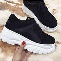 Крутые кроссовки на платформе чёрные , фото 1
