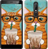 Чехол EndorPhone на Nokia 5.1 Зеленоглазый кот в очках (4054u-1529)