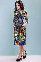 Платье клеш трикотажное 44-50 размера с бирюзовыми цветами, фото 1