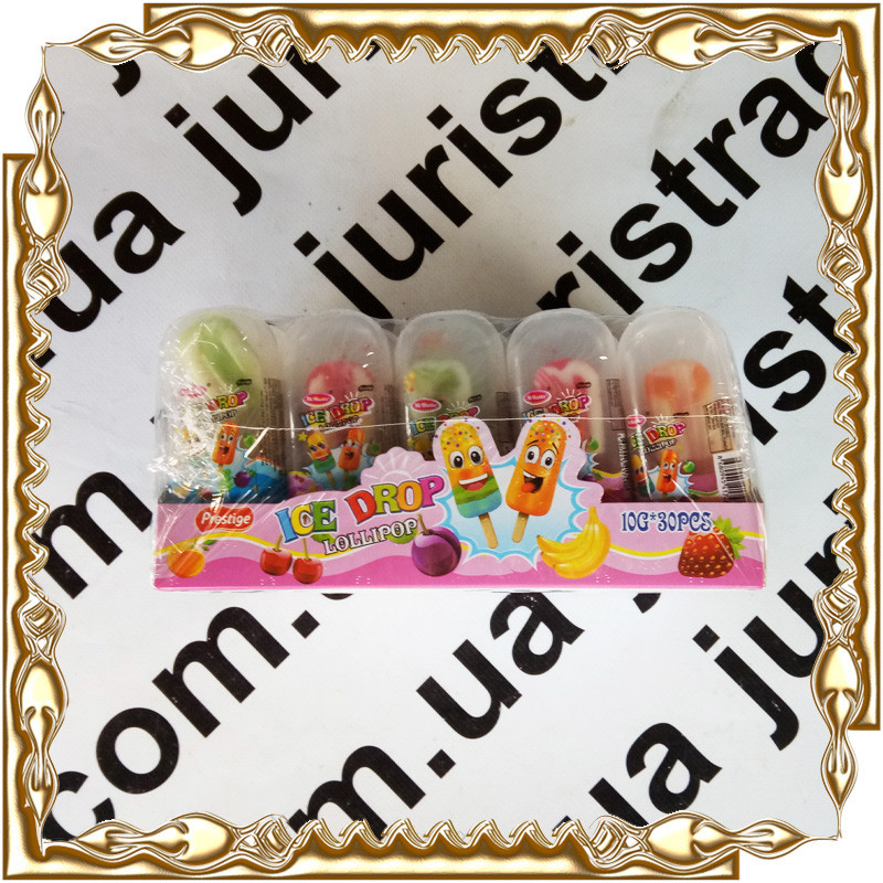 Конфета на палочке мороженое Ice Drop Lollipop 10 г. 30 шт./уп.