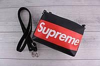 Сумка Supreme (суприм) - сумка на плечо, наплечная сумка, небольшая, с логотипом, черная