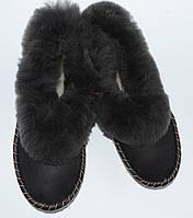 Домашні чоловічі тапочки з овечої шерсті та шкіри (закопанки)