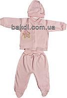 Детский костюм рост 62 (2-3 мес.) интерлок розовый на девочку (комплект на выписку) для новорожденных Р-805