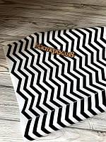 Декоративная бумага для упаковки подарков и декора черно белая зигзаги, 70см /намотка 10м