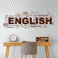 Текстовая наклейка на стену English (пленка виниловая, тексты, слова на английском)