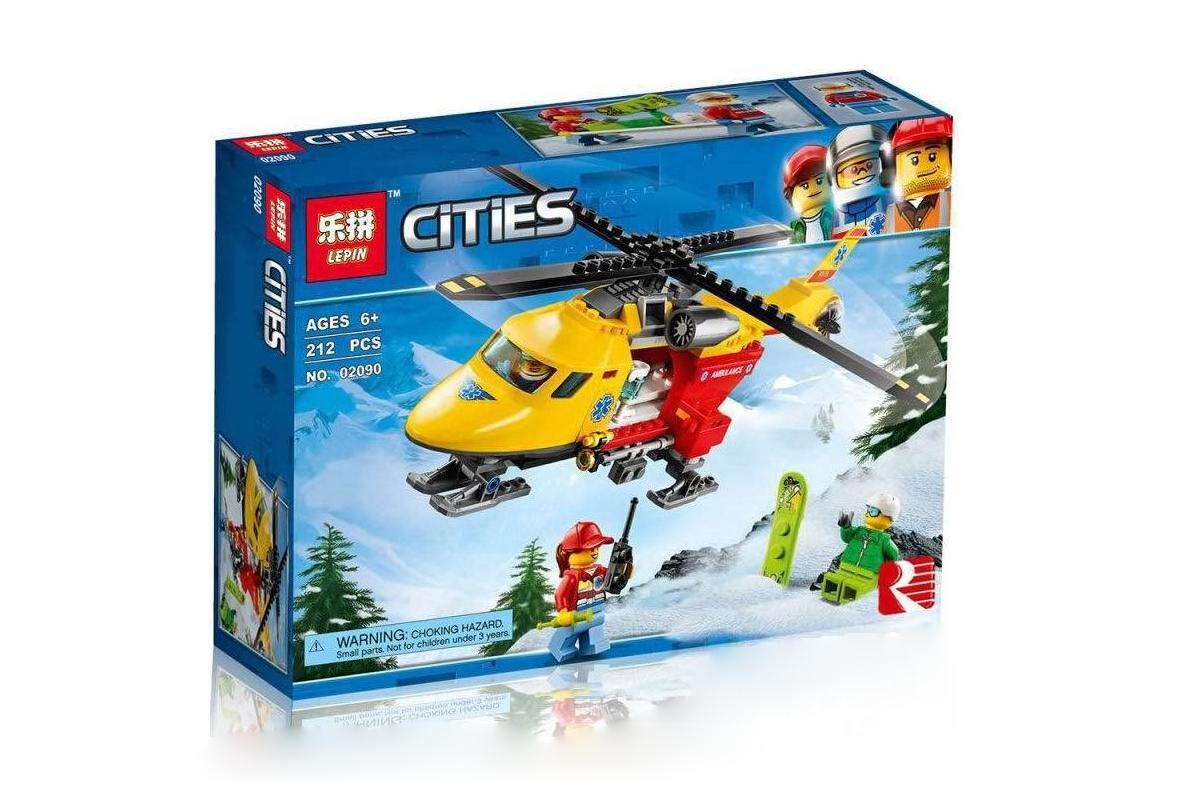 Конструктор Аналог Lego 60179, Lepin 02090 Вертоліт швидкої допомоги