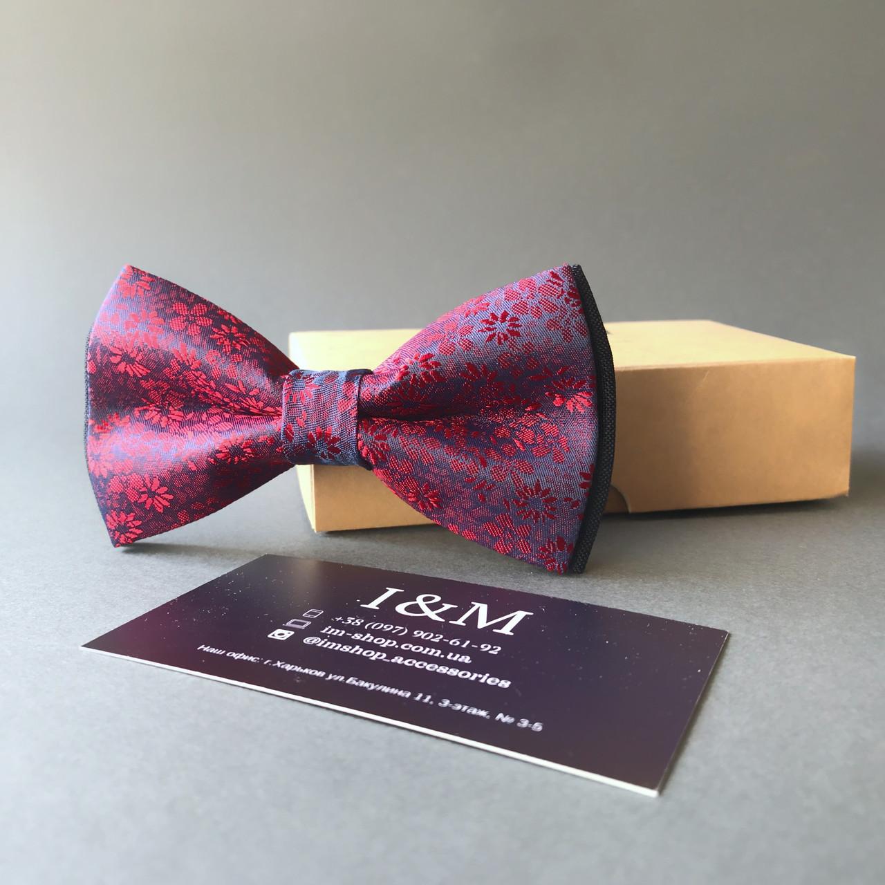 Краватка-метелик I&M Craft малиновий з переливом (0102004019)