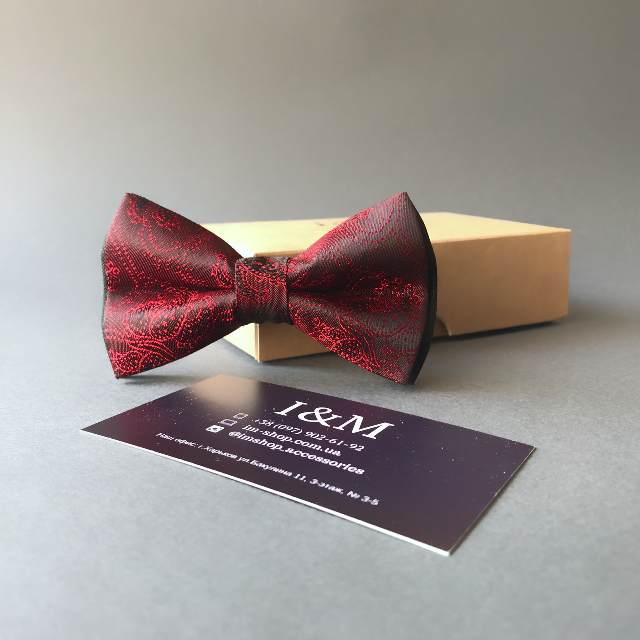 Галстук-бабочка I&M Craft красный с переливом (0102004001)