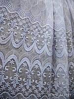 Белоснежная тюль  на основе льна на метраж и опт с вышивкой Высота 2.8 м, фото 1