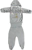 Детский костюм рост 62 (2-3 мес.) интерлок голубой на мальчика (комплект на выписку) для новорожденных А-413