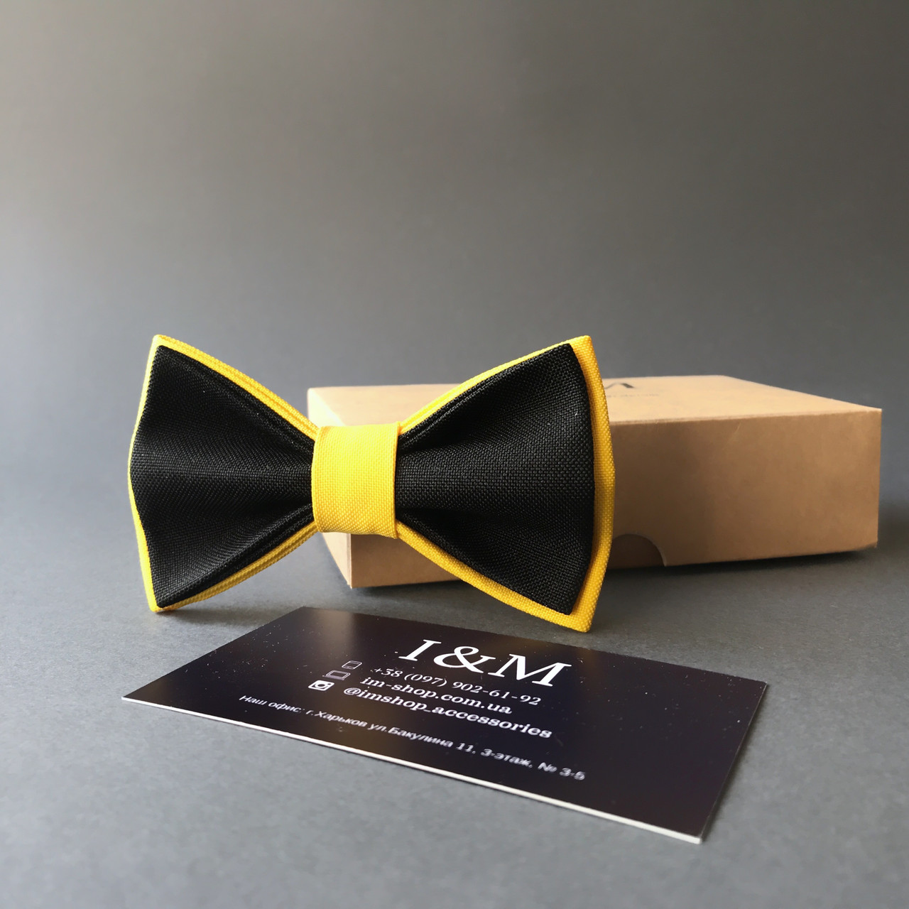 Галстук-бабочка I&M Craft детский черный с желтым (010567k)
