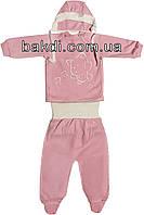 Детский костюм рост 62 (2-3 мес.) интерлок розовый на девочку (комплект на выписку) для новорожденных Р-413