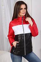 """Женская демисезонная короткая куртка с капюшоном трехцветная """"Nancy"""" красная"""