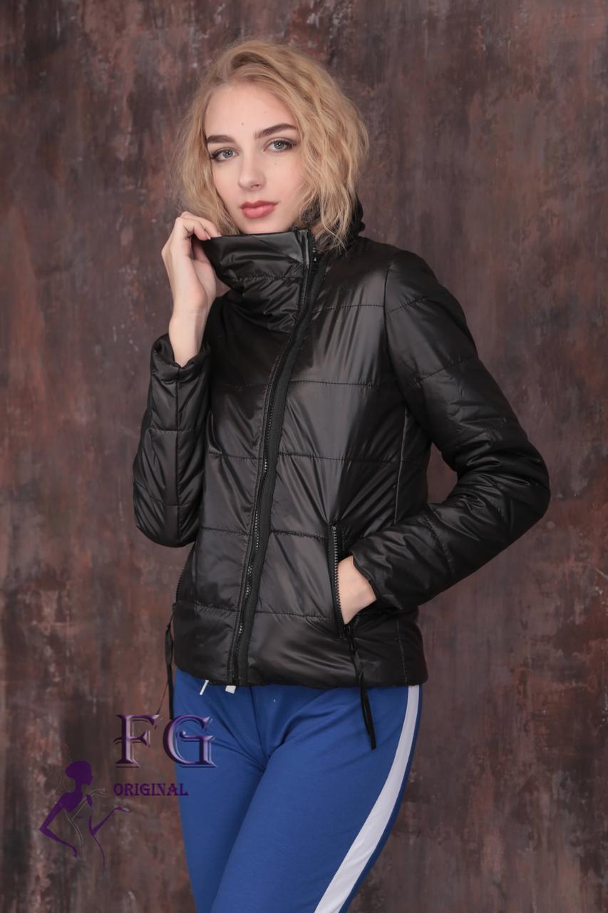 b9e3b5ff0a7 Модная демисезонная женская короткая куртка без капюшона с молнией наискось