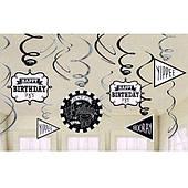 Спираль фольга Happy Birthday (черно-белая) 12 1501-4180