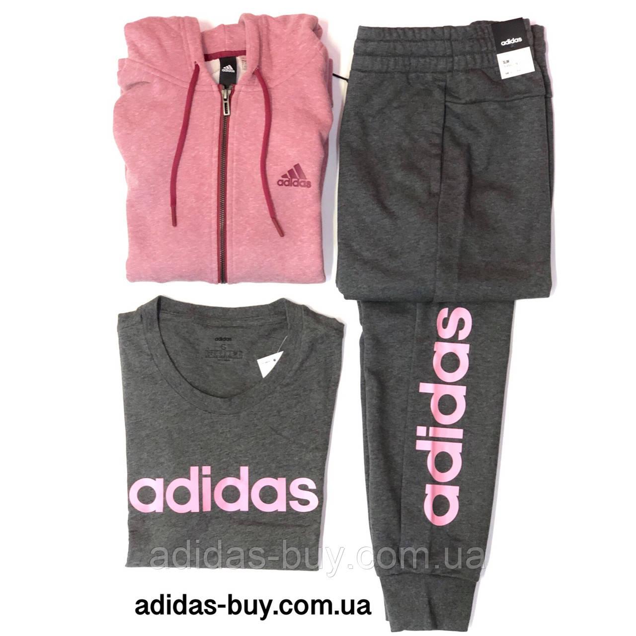 4d2c3bbc Костюм женский оригинал джемпер и штаны adidas DU0698 цвет: черный/розовый