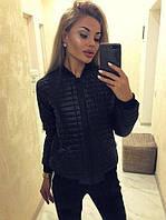 """Демисезонная женская стеганая куртка  """"Page"""" с трикотажным воротником и манжетами черный"""