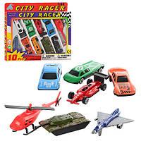 Набор машинок City Racer 92753-10: 7 машинок, вертолет, самолет, танк