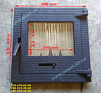 Дверца чугунная с жаростойким стеклом, мангал, барбекю, печи 400х400 мм
