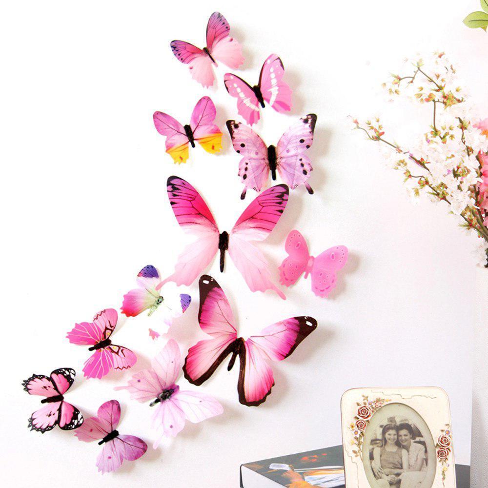 (12 шт) Набор бабочек 3D на скотче, РОЗОВЫЕ цветные