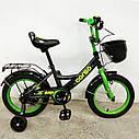 """Двоколісний дитячий велосипед чорний ручне гальмо дзвіночок кошик Corso 14"""" дітям 3-5 років, фото 3"""