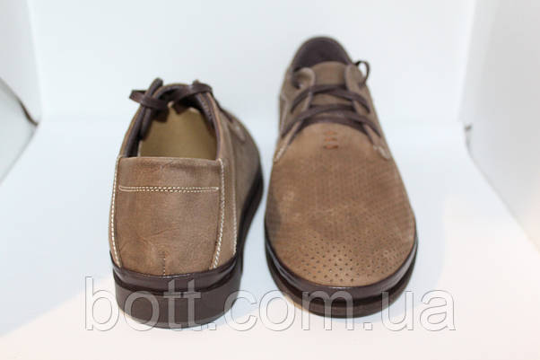 Мокасины коричневые перфорирование кожаные, фото 3
