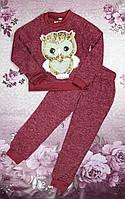 Модный прогулочный костюм для девочки бордо Сова ангора на софте + аппликация с пайеткам 122,128см