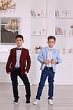 Нарядный комплект для мальчика Montella: бордовый пиджак, рубашка и синие брюки, фото 2