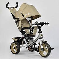 Велосипед 3-х колёс. 5700 - 3540 /БЕЖЕВЫЙ/ Best Trike ТКАНЬ ЛЁН, ПОВОРОТНОЕ СИДЕНЬЕ, КОЛЕСА EVA (ПЕНА) переднее колесо d=28см. задние d=24см (ОПТОМ)