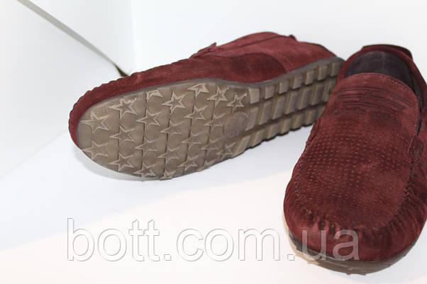 Мокасины  замшевые бордовые перфорированные, фото 2