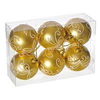 Набор шариков с узором, 6 шт. 6 см. золотой