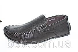 Мокасины черные перфорированные кожаные