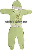 Детский костюм с начёсом рост 62 (2-3 мес.) интерлок салатовый на мальчика/девочку (комплект на выписку) для новорожденных С-483