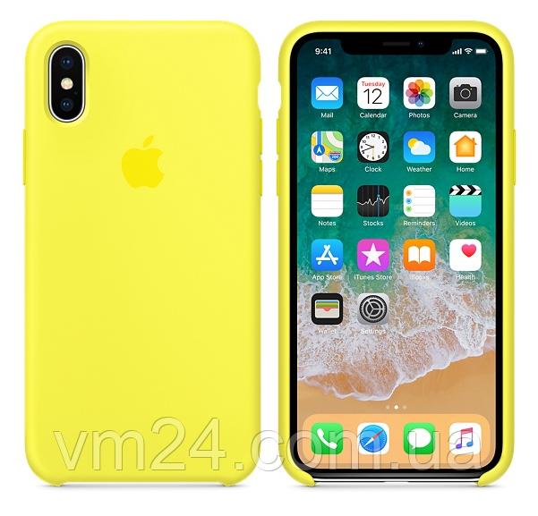 Силиконовый чехол Apple Silicone Case for iPhone X yellow-жёлтый неон