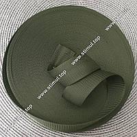 Тесьма цветная 20 мм (бухта 50 м) ХАКИ / Стропа сумочная ременная / Лента для рюкзаков / Стрічка ремінна