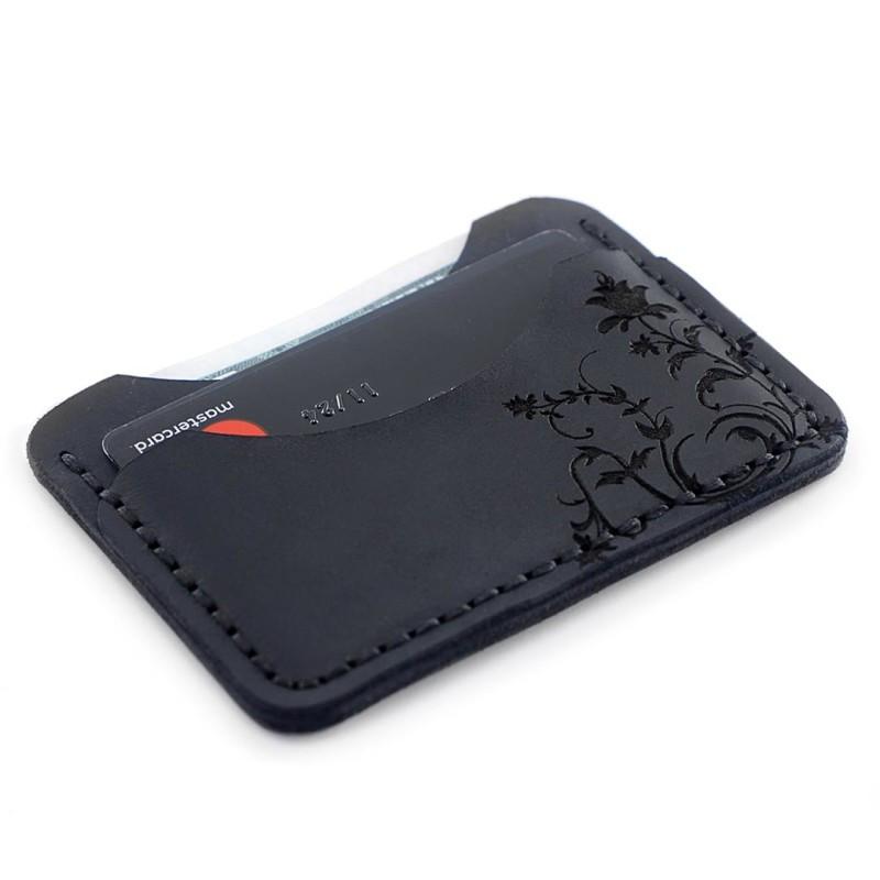 """Картхолдер кожаный с гравировкой с двумя отделениями для карт """"C-One"""". Цвет чёрный"""