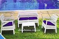 """Комплект садовой мебели """"Hawaii Set"""" Irak Plastik, Турция (стол, 2 кресла, софа 3-х местная)) серый белый"""
