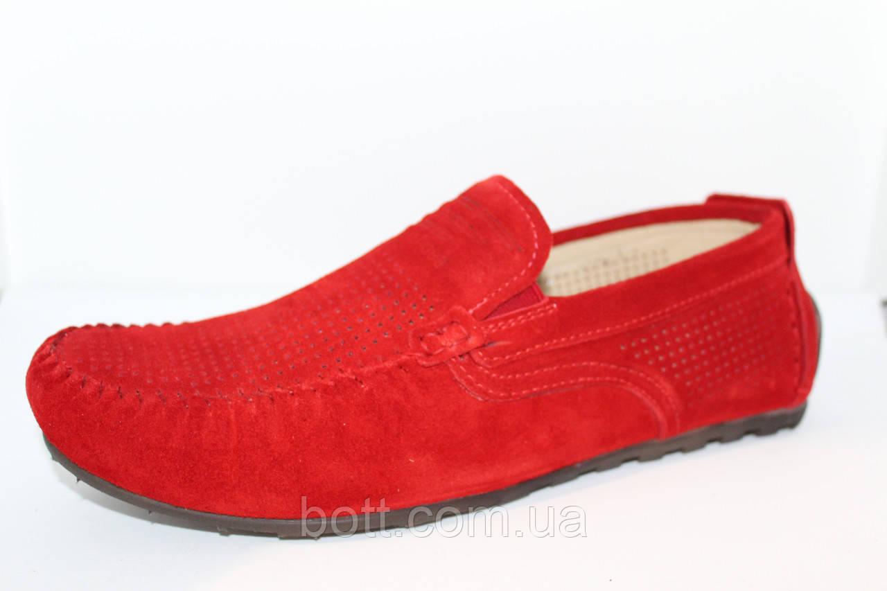 Красный замшевый мокасин
