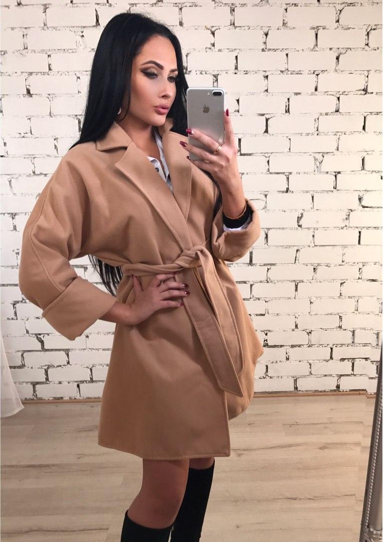Пальто женское кашемир на запах с поясом