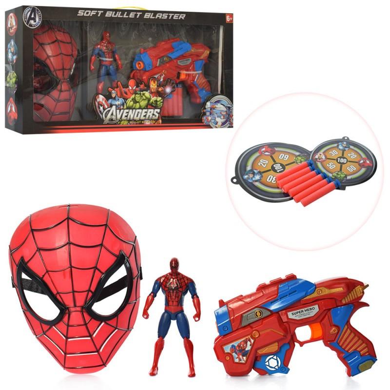 Игровой набор супергероя - Спайдермен, маска, пистолет, фигурка,SB392