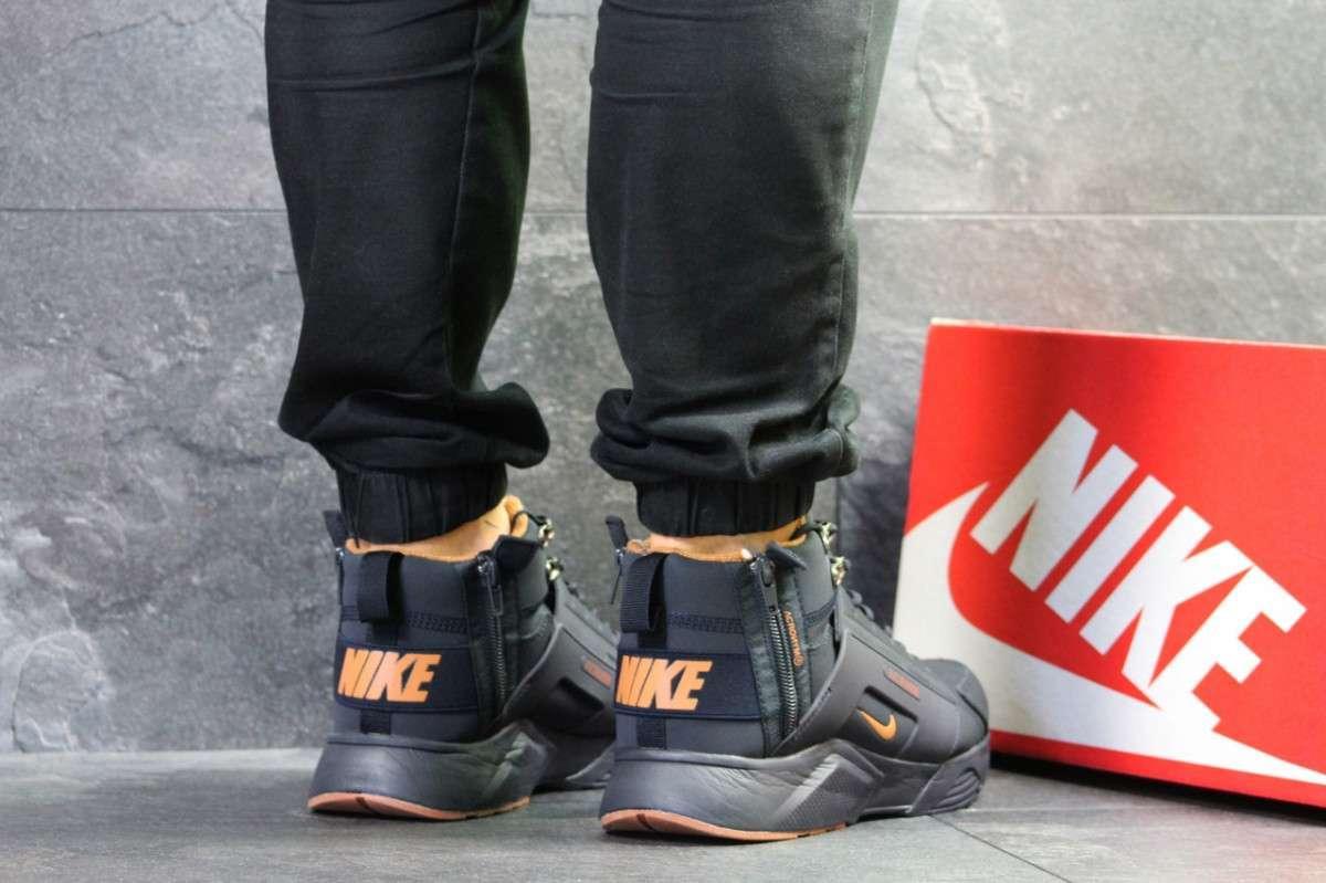 437f1b1d Мужские зимние кроссовки темно синие с желтым Nike Huarache 6777, ...